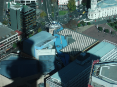 Surf board roof and the Sky Tower's shadow