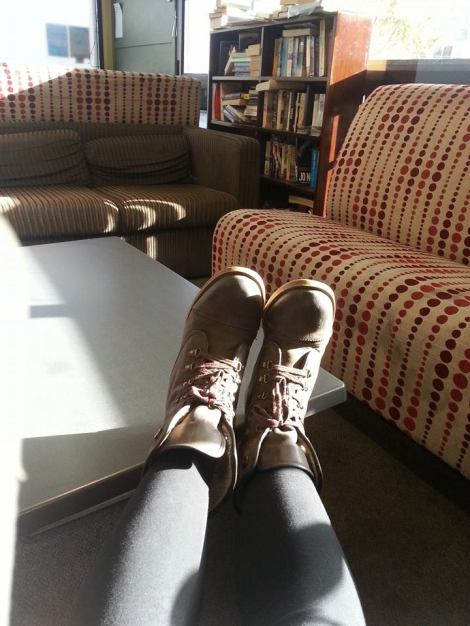 The boots I had to leave in Auckland... Oh yeah, and that's the Silverfern  common room in the background.