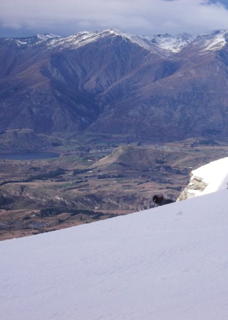 The Remarkables looking sad with the lack of snow over yonder.