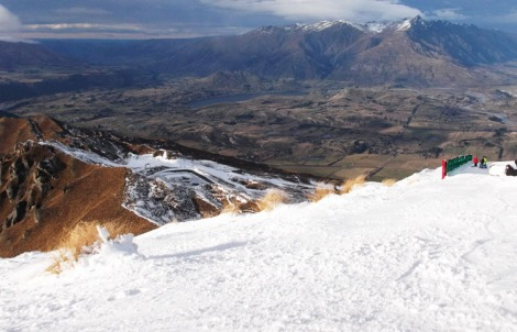A view from Coronet Peak to Queenstown's other ski field The Remarkables