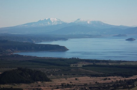 Tongariro and Lake Taupo from Tauhara. Now that is a lot of Ts.