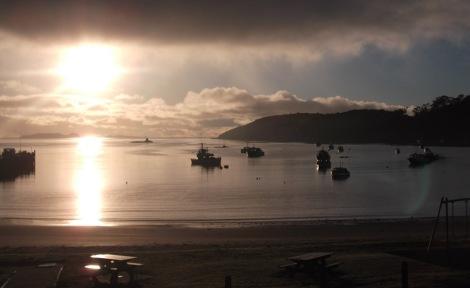 Ooo isn't it marvellous? Sun setting over Halfmoon Bay, Stewart Island, New Zealand.