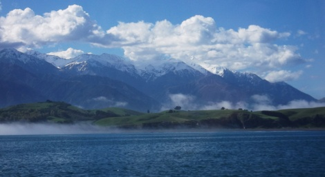 The mist finally shifts to reveal the Kaikoura Ranges