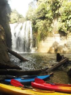 Waterfall and kayaks.