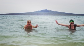Maria and I with our home boy, Rangitoto Island.