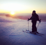 The lovely Iris and sunset after a staff ski session.